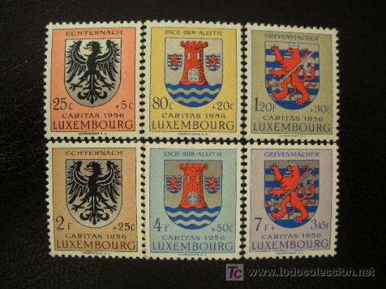 LUXEMBURGO 1956 IVERT 520/5 *** PRO OBRAS SOCIALES - ESCUDOS (I) (Sellos - Extranjero - Europa - Luxemburgo)