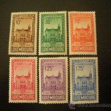 Sellos: LUXEMBURGO 1936 IVERT 282/7 * XI CONGRESO FEDERACIÓN INTERNACIONAL DE FILATÉLIA - MONUMENTOS. Lote 27894493