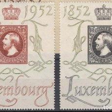 Sellos: LUXEMBURGO 1952 IVERT 453/4 * CENTENARIO DEL SELLO - EXPOSICIÓN FILATÉLICA CENTILUX . Lote 75629563