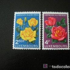 Sellos: LUXEMBURGO 1956 IVERT 508/09 *** LUXEMBURGO CIUDAD DE ROSAS - FLORA. Lote 75683783