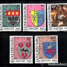 Sellos: LUXEMBURGO 1983 IVERT 1036/40 *** CARITAS - ESCUDOS COMUNALES. Lote 78035561