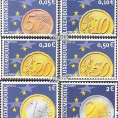 Sellos: LUXEMBURGO 2001 IVERT 1497/502 *** EL EURO - NUMISMATICA. Lote 79907221