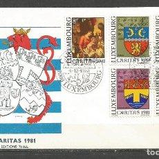 Sellos: LUXEMBURGO SOBRE PRIMER DIA CARITAS YVERT NUM. 991/995 SERIE COMPLETA. Lote 93996335