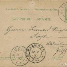 Sellos: 1890. LUXEMBURGO/LUXEMBOURG. ENTERO POSTAL/STATIONERY. CIRCULADO DE DIEKIRCH A VIANDEN.. Lote 119147247