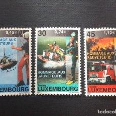 Timbres: LUXEMBURGO AÑO 2001. BOMBEROS Y EQUIPOS DE SALVAMENTO. Lote 153892362