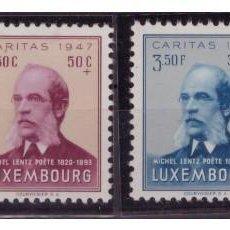 Sellos: LUXEMBURGO AÑO 1950 YV 402/05* CÁRITAS - MICHEL LENZ - PERSONAJES - POESÍA - LITERATURA. Lote 154723170