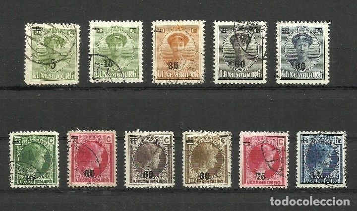 LUXEMBURGO, 1925/29, CON SOBRECARGA, LOTE DE 11 SELLOS USADOS (Sellos - Extranjero - Europa - Luxemburgo)