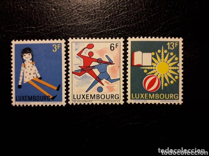 LUXEMBURGO YVERT 735/7 SERIE COMPLETA NUEVA SIN CHARNELA. EXPOSICIÓN FILATÉLICA JUVENTUS 1969 (Sellos - Extranjero - Europa - Luxemburgo)
