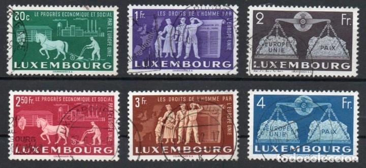 LUXEMBURGO AÑO 1951 YV 443/48ºº UNIÓN EUROPEA - PROFESIONES - MAPAS - CABALLOS - AGRICULTURA (Sellos - Extranjero - Europa - Luxemburgo)