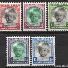 Sellos: LUXEMBURGO, 1931 YVERT Nº 234 / 238 /*/, PRINCESA ALIX. Lote 179061233