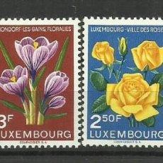 Sellos: LUXEMBURGO 1955 - NUEVO CON FIJASELLO- SERIE COMPLETA-FESTIVAL FLORAL MONDORF. Lote 183394681