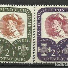 Sellos: LUXEMBURGO 1957- NUEVO CON FIJASELLO- CENTENARIO DE ROBERT BADEN(COMPLETA). Lote 183395057