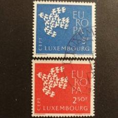 Sellos: LUXEMBURGO, EUROPA CEPT 1961 COMPLETA Y USADA (FOTOGRAFÍA REAL). Lote 205561366