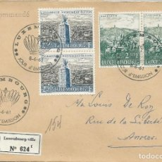 Sellos: 1961. LUXEMBURGO. SPD/FDC. CIRCULADO YVERT 599/600. DOS SERIES. TURISMO. HISTORIA. PATTON.. Lote 209739290