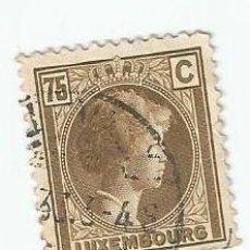 Sellos: SELLO USADO DE LUXEMBURGO DE 1927- GRAN DUQUESA CARLOTA - YVERT 176 -VALOR 75 CENTIMOS. Lote 231378465
