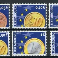 Sellos: LUXEMBURGO 2001 IVERT 1497/502 *** EL EURO - NUMISMATICA. Lote 253132265