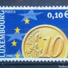 Sellos: LUXEMBURGUO 2001 LLEGADA DEL EURO SELLO USADO DE 0,10 €. Lote 277553823
