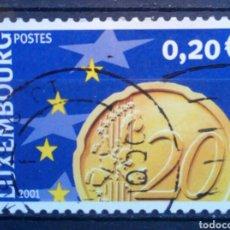 Sellos: LUXEMBURGO 2001 LLEGADA DEL EURO SELLO USADO DE 0,20 €. Lote 277553988