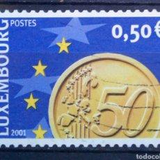 Sellos: LUXEMBURGO 2001 LLEGADA DEL EURO SELLO USADO DE 0,50 €. Lote 277554083