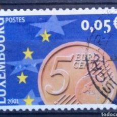 Sellos: LUXEMBURGO 2001 LLEGADA DEL EURO SELLO USADO DE 0,05 €. Lote 277554168