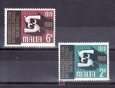 MALTA 389/90 SIN CHARNELA, 50º ANIVERSARIO DE LA ORGANIZACION INTERNACIONAL DEL TRABAJO, (Sellos - Extranjero - Europa - Malta)