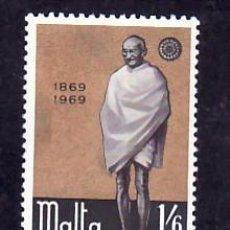 Sellos: MALTA 388 SIN CHARNELA, CENTENARIO NACIMIENTO DE MAHATMA GANDHI, . Lote 9905184
