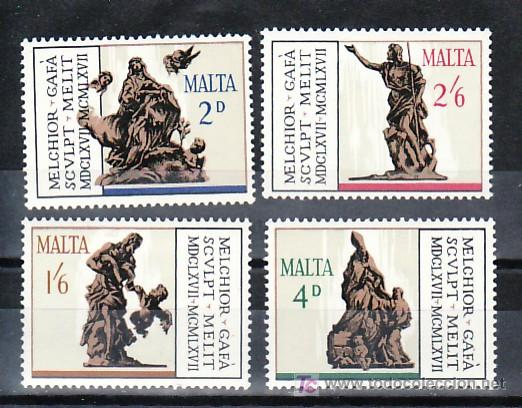 MALTA 358/61 SIN CHARNELA, ARTE, TRICENTENARIO MUERTE ESCULTOR MELCHIOR GAFA, (Sellos - Extranjero - Europa - Malta)