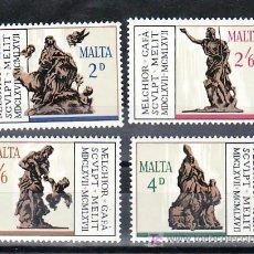 Sellos: MALTA 358/61 SIN CHARNELA, ARTE, TRICENTENARIO MUERTE ESCULTOR MELCHIOR GAFA, . Lote 9905290