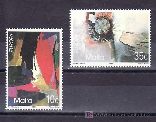 MALTA 883/4 SIN CHARNELA, TEMA EUROPA 1993, ARTE CONTEMPORANEO (Sellos - Extranjero - Europa - Malta)