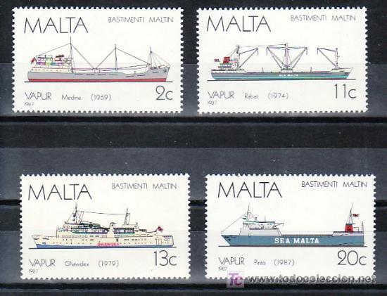 MALTA 756/9 SIN CHARNELA, BARCO A VAPOR, HISTORIA DE LA MARINA DE MALTA, (Sellos - Extranjero - Europa - Malta)