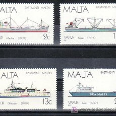 Sellos: MALTA 756/9 SIN CHARNELA, BARCO A VAPOR, HISTORIA DE LA MARINA DE MALTA, . Lote 11598397