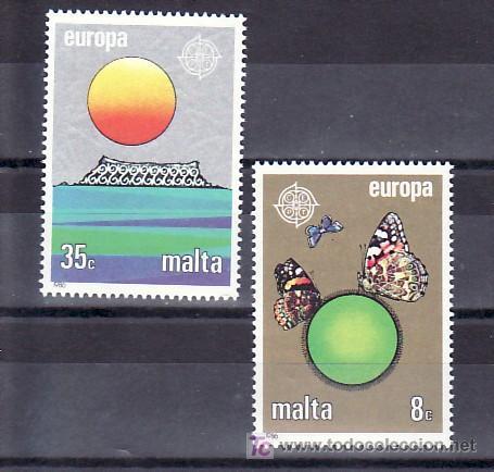 MALTA 727/8 SIN CHARNELA, TEMA EUROPA 1986, MARIPOSAS, PROTECCION DE LA NATURALEZA Y DEL DESARROLLO (Sellos - Extranjero - Europa - Malta)
