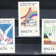 Sellos: MALTA 697/9 SIN CHARNELA, 10º ANIVERSARIO DE LA REPUBLICA, PALOMA, . Lote 9880267