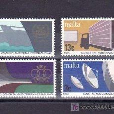 Sellos: MALTA 670/3 SIN CHARNELA, COMUNICACIONES, BARCO, ADUANA, CAMION, DEPORTE, . Lote 9891734