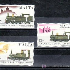 Sellos: MALTA 661/3 SIN CHARNELA, FF.CC., CENTENARIO INAUGURACION FERROCARRIL DE MALTA, LOCOMOTORAS A VAPOR. Lote 9891893