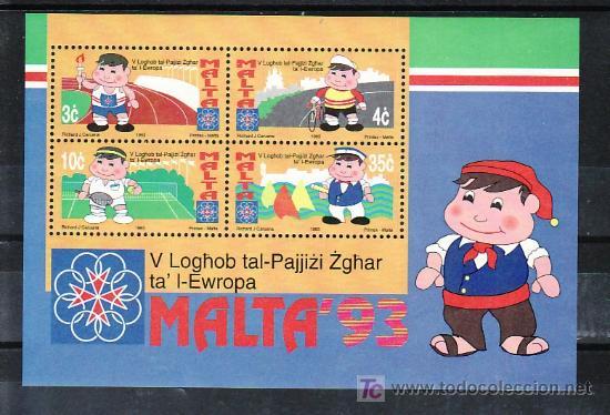MALTA HB 12 SIN CHARNELA, DEPORTE, V JUEGOS DEPORTIVOS DE LOS PEQUEÑOS PAISES DE EUROPA (Sellos - Extranjero - Europa - Malta)