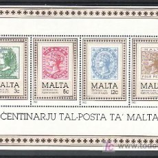 Sellos: MALTA HB 8 SIN CHARNELA, CENTENARIO DEL SELLO DE MALTA,. Lote 220784573
