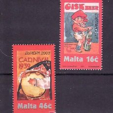 Sellos: MALTA 1243/4 SIN CHARNELA, TEMA EUROPA 2003, ARTE DEL CARTEL, CARNAVAL, MUSICA,. Lote 10515253