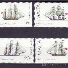 Sellos: MALTA 681/4 SIN CHARNELA, BARCO, HISTORIA DE LA MARINA DE MALTA, . Lote 10515662