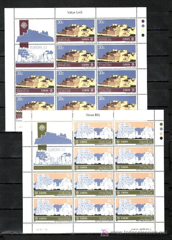 MALTA 668/9 MINIPLIEGO SIN CHARNELA, TEMA EUROPA 1983, GRANDES OBRAS DE LA HUMANIDAD (Sellos - Extranjero - Europa - Malta)
