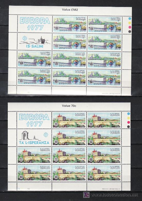 MALTA 549/50 MINIPLIEGO SIN CHARNELA, TEMA EUROPA 1977, PAISAJES, (Sellos - Extranjero - Europa - Malta)