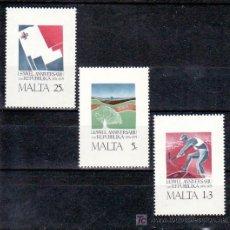 Sellos: MALTA 516/8 SIN CHARNELA, ANIVERSARIO DE LA REPUBLICA, DERECHO AL TRABAJO, MEDIO AMBIENTE, BANDERA,. Lote 10517790