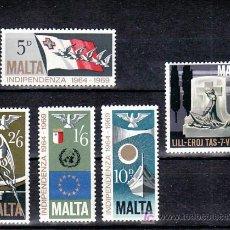 Sellos: MALTA 395/9 SIN CHARNELA, 5º ANIVERSARIO DE LA INDEPENDENCIA, . Lote 10517981