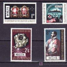 Sellos: MALTA 378/81 SIN CHARNELA, 4º CENTENARIO MUERTE JEAN PARISOT DE LA VALETTE GRAN MAESTRO ORDEN MALTA. Lote 10518057