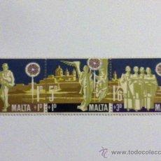 Sellos: SELLOS DE MALTA TRIPTICO. Lote 24292586
