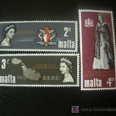 Sellos: MALTA 1967 IVERT 369/71 *** VISITA REAL DE ISABEL II - MONARQUIA. Lote 28752457