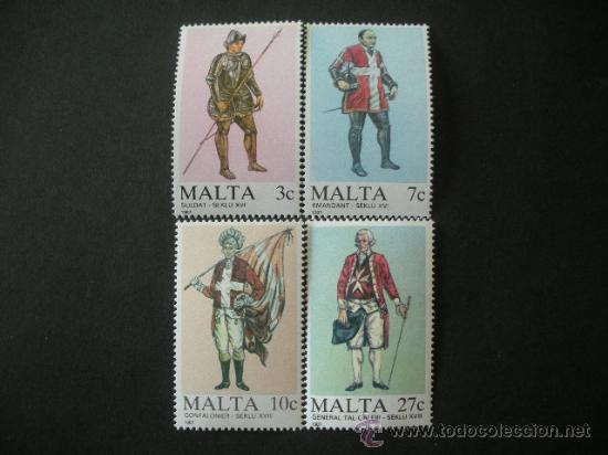 MALTA 1987 IVERT 749/52 *** UNIFORMES MILITARES (I) (Sellos - Extranjero - Europa - Malta)