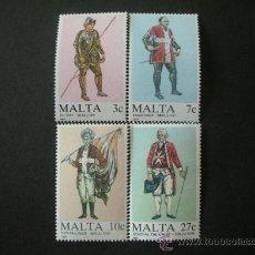 Sellos: MALTA 1987 IVERT 749/52 *** UNIFORMES MILITARES (I). Lote 25609246