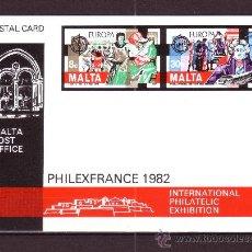 Sellos: MALTA EP 649/50*** - AÑO 1982 - EUROPA - EXPOSICION FILATELICA INTERNACIONAL PHILEXFRANCE 82. Lote 27140557