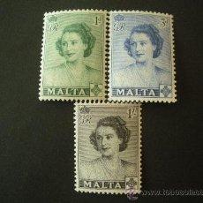 Sellos: MALTA 1950 IVERT 222/4 *** VISITA DE LA PRINCESA ELISABET - PERSONAJES - CASA REAL. Lote 28719622